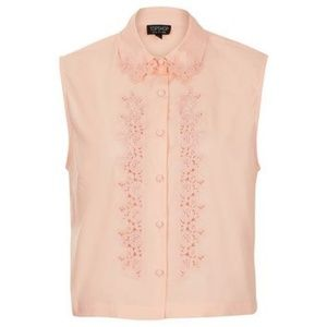 TopShop Sleeveless Embroidered Cotton Top